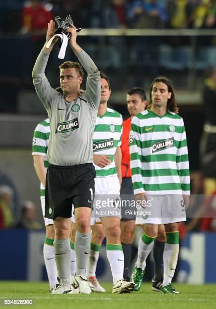 Celtic goalkeeper Artur Boruc applauds the away fans after the final whistle