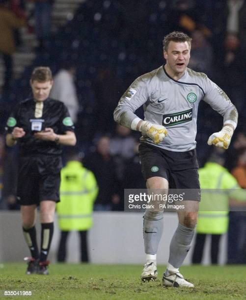 Celtic goalkeeper Artur Boruc celebrates scoring his penalty during the shoot out following the Cooperative Insurance Cup Semi Final match at Hampden...