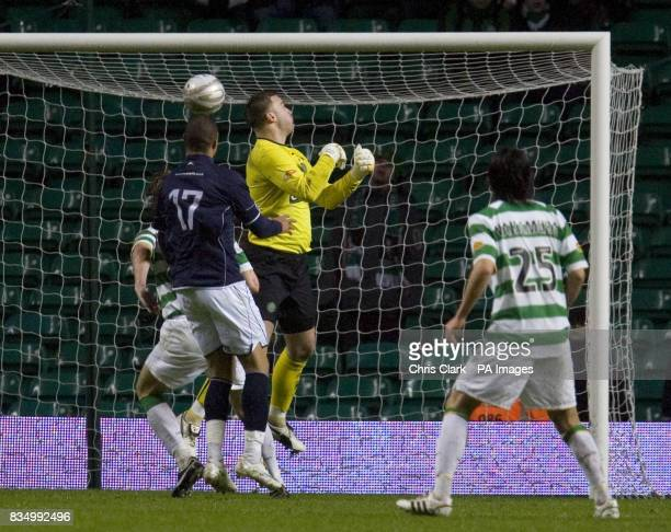 Celtic goalkeeper Artur Boruc fumbles a cross in the final minutes during the Homecoming Scottish Cup match at Celtic Park Glasgow