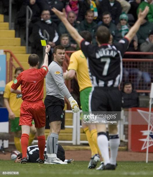 Celtic goalkeeper Artur Boruc is booked by referee William Collum during the Clydesdale Bank Scottish Premier League match at Love Street Stadium...