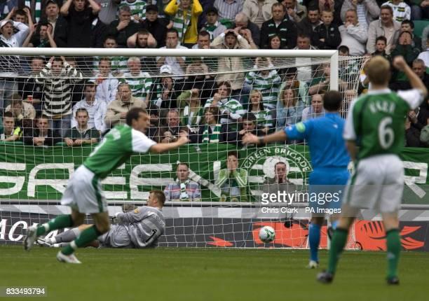 Celtic goalkeeper Artur Boruc lies on the ground as Hibernian's Steven Fletcher celebrates during the Clydesdale Bank Scottish Premier League match...