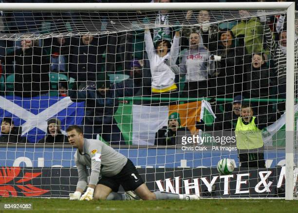 Celtic goalkeeper Artur Boruc on his knees after he misjudges a shot by Hibernian's John Rankin for their first goal during the Clydesdale Bank...