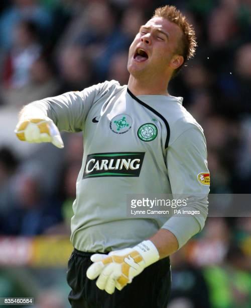 Celtic goalkeeper Artur Boruc shows his frustration during the Clydesdale Bank Scottish Premier League match at Easter Road Edinburgh