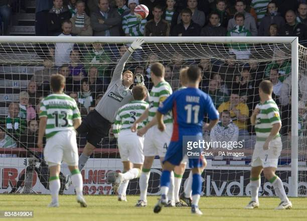 Celtic goalkeeper Artur Boruc tries to reach the freekick taken by Inverness' Douglas Imrie during the Clydesdale Bank Premier League match at...
