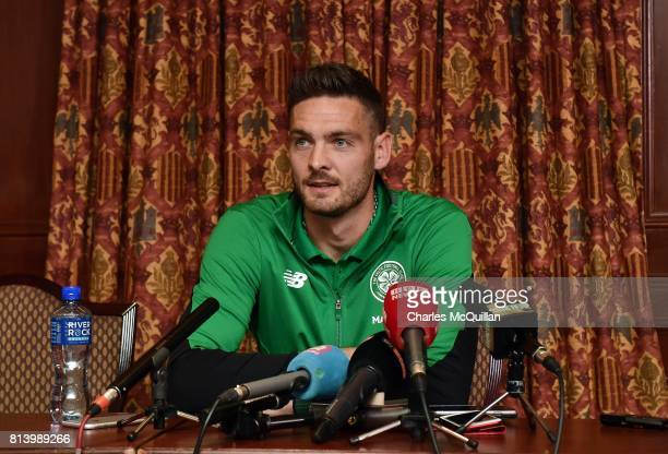 Celtic goalkeeper Craig Gordon answers questions from reporters during a press conference at the Culloden Hotel on July 13 2017 in Belfast Northern...