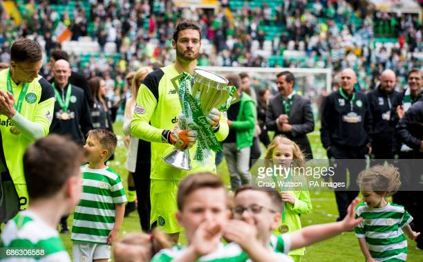 Celtic goalkeeper Craig Gordon with the Scottish Premiership trophy after at the Ladbrokes Scottish Premiership match at Celtic Park Glasgow