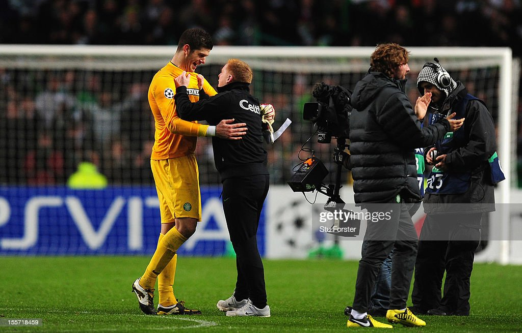 Celtic goalkeeper <a gi-track='captionPersonalityLinkClicked' href=/galleries/search?phrase=Fraser+Forster&family=editorial&specificpeople=4185429 ng-click='$event.stopPropagation()'>Fraser Forster</a> (l) celebrates with manager <a gi-track='captionPersonalityLinkClicked' href=/galleries/search?phrase=Neil+Lennon&family=editorial&specificpeople=642944 ng-click='$event.stopPropagation()'>Neil Lennon</a> after the UEFA Champions League Group G match between Celtic and Barcelona at Celtic Park on November 7, 2012 in Glasgow, Scotland.