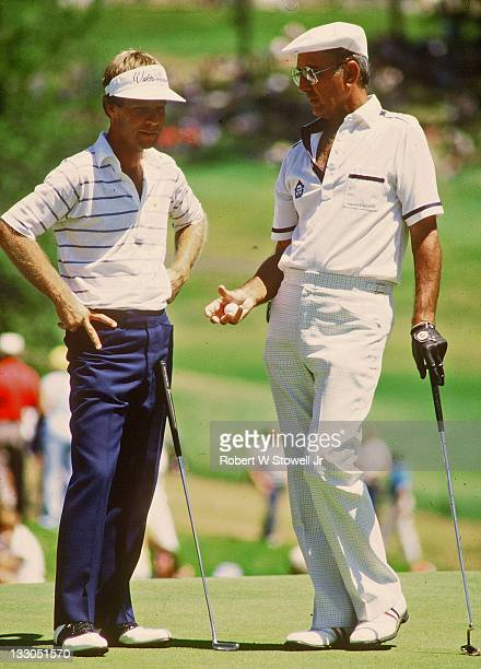 Celtic great Bob Cousy and PGA pro Ben Crenshaw discuss things during Greater Hartford Open Pro Am Cromwell CT 1989