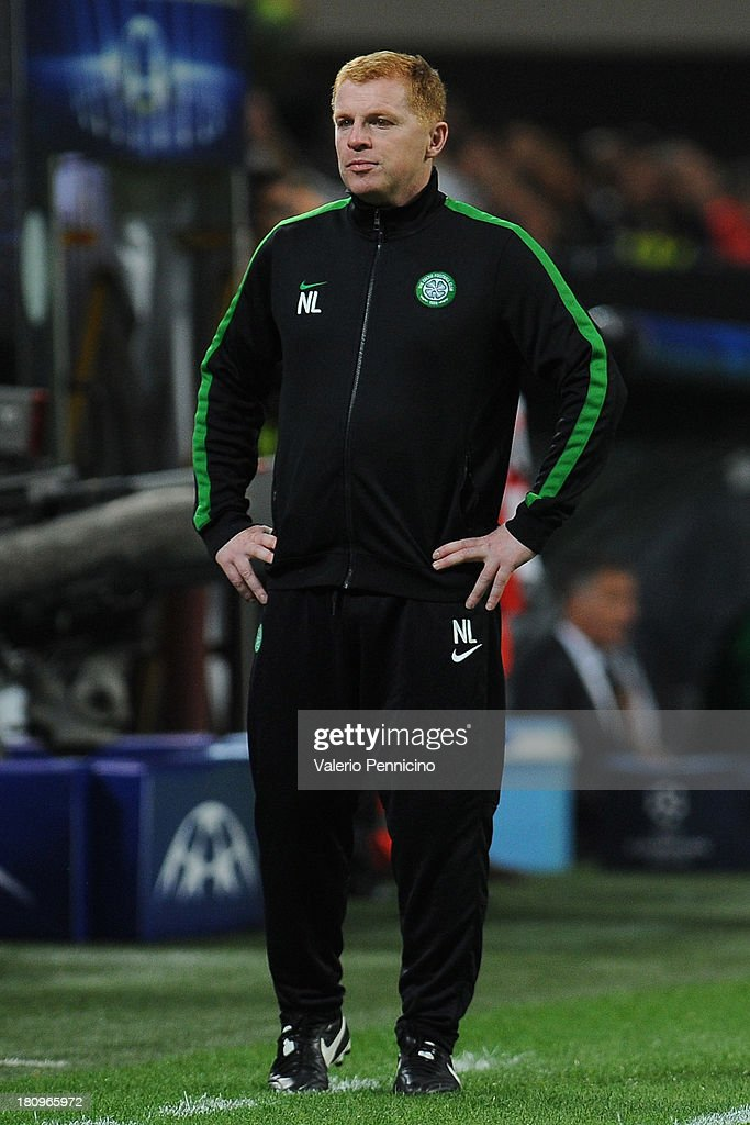 Celtic head coach <a gi-track='captionPersonalityLinkClicked' href=/galleries/search?phrase=Neil+Lennon&family=editorial&specificpeople=642944 ng-click='$event.stopPropagation()'>Neil Lennon</a> looks dejected at the end of the UEFA Champions League group H match between AC Milan and Celtic at Stadio Giuseppe Meazza on September 18, 2013 in Milan, Italy.