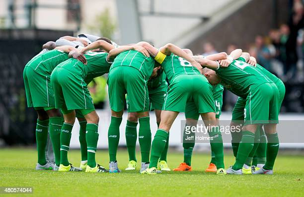 Celtic Huddle at the Pre Season Friendly between Celtic and Real Sociedad at St Mirren Park on July 10th 2015 in Paisley Scotland