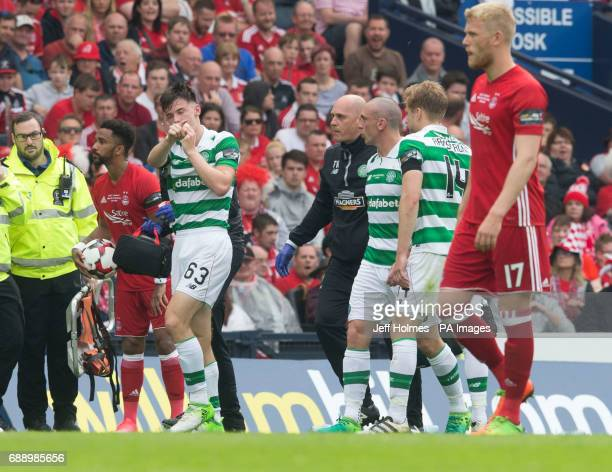 Celtic Kieran Tierney goes off injured during the William Hill Scottish Cup final at Hampden Park Glasgow
