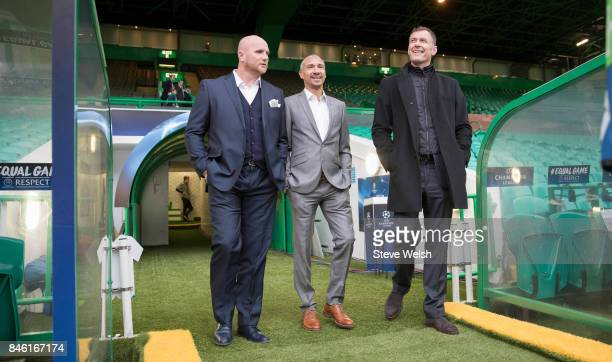 Celtic Legends arrive at Parkhead John Harrison Henrik Larsson and Chris Sutton before the UEFA Champions League Match between Celtic and Paris Saint...