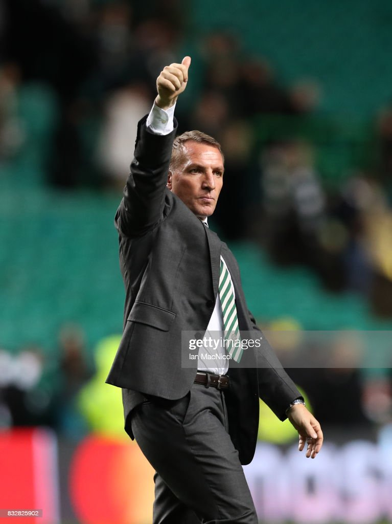 Celtic manager Brendan Rodgers celebrates at full time during the UEFA Champions League Qualifying Play-Offs Round First Leg match between Celtic FC and FK Astana at Celtic Park on August 16, 2017 in Glasgow, United Kingdom.
