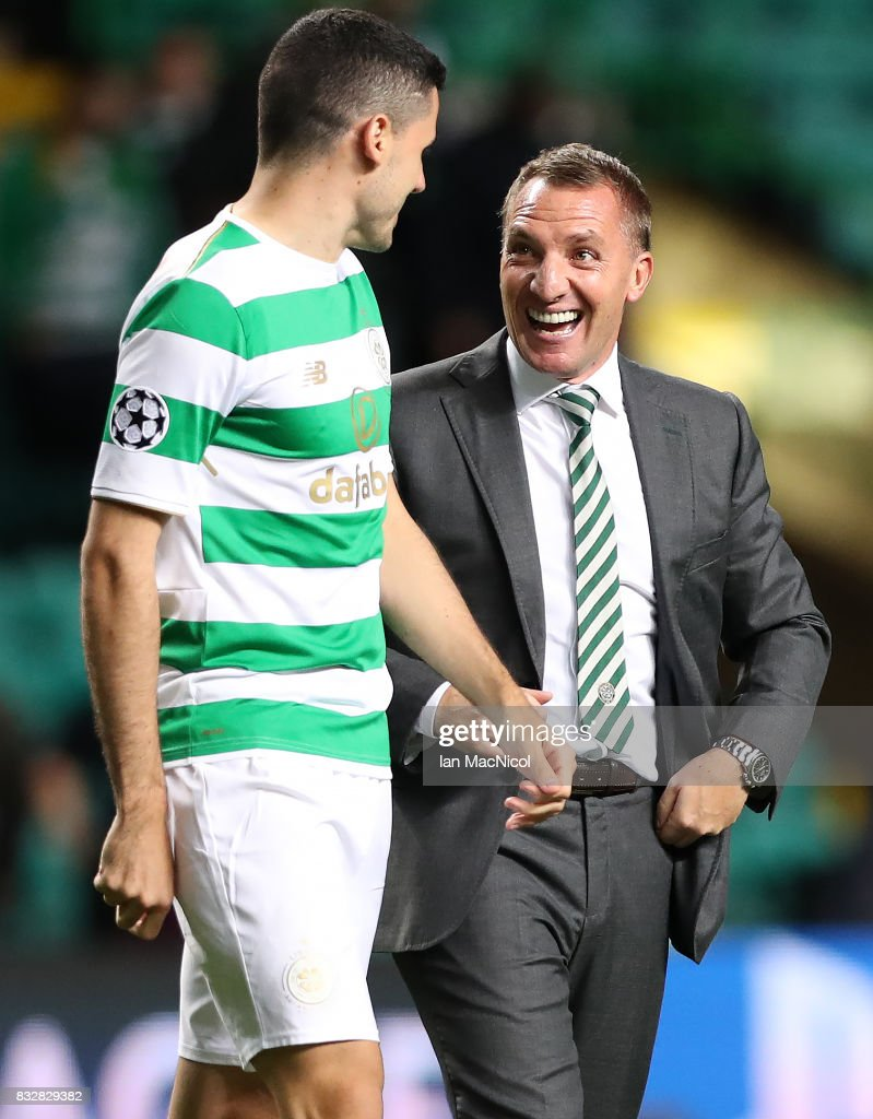 Celtic manager Brendan Rodgers celebrates at full time with Tomas Rogic of Celtic during the UEFA Champions League Qualifying Play-Offs Round First Leg match between Celtic FC and FK Astana at Celtic Park on August 16, 2017 in Glasgow, United Kingdom.