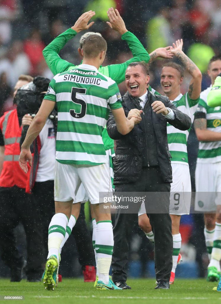 Celtic Manager Brendan Rodgers celebrates during the William Hill Scottish Cup Final between Celtic and Aberdeen at Hampden Park on May 27, 2017 in Glasgow, Scotland.