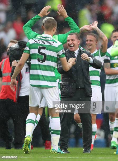 Celtic Manager Brendan Rodgers celebrates during the William Hill Scottish Cup Final between Celtic and Aberdeen at Hampden Park on May 27 2017 in...