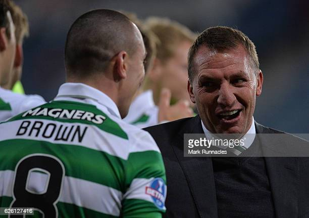 Celtic manager Brendan Rodgers celebrates with Celtic captain Scott Brown as Celtic win the Betfred Cup Final between Aberdeen FC and Celtic FC at...
