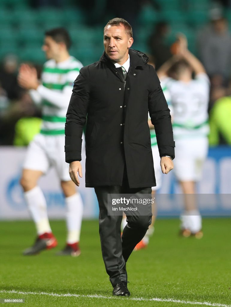 Celtic manager Brendan Rodgers is seen during the UEFA Champions League group B match between Celtic FC and RSC Anderlecht at Celtic Park on December 5, 2017 in Glasgow, United Kingdom.