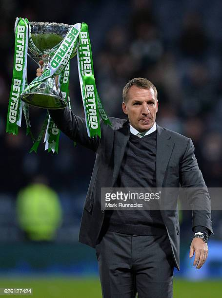 Celtic manager Brendan Rodgers lifts the trophy as Celtic win the Betfred Cup Final between Aberdeen FC and Celtic FC at Hampden Park on November 27...
