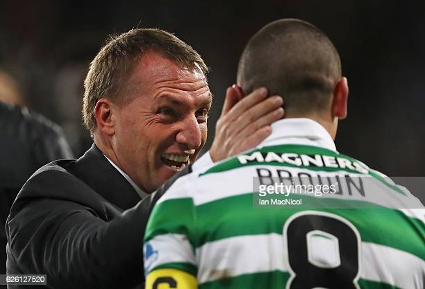 Celtic manager Brendan Rogers and Scott Brown of Celtic celebratesduring the Betfred Cup Final between Aberdeen and Celtic at Hampden Park on...