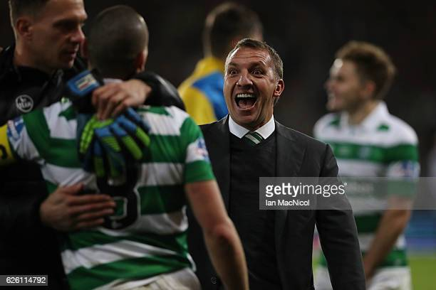 Celtic manager Brendan Rogers reacts during the Betfred Cup Final between Aberdeen and Celtic at Hampden Park on November 27 2016 in Glasgow Scotland