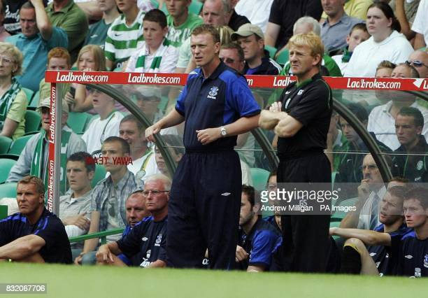 Celtic manager Gordon Strachan and Everton manager David Moyes during the friendly match at Celtic Park Glasgow