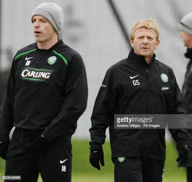Celtic manager Gordon Strachan and player Neil Lennon during a training session at Barrowfield Glasgow