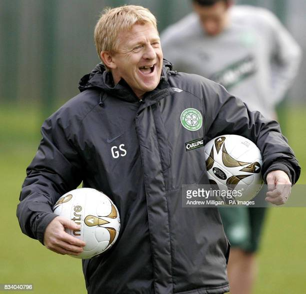 Celtic manager Gordon Strachan during a training session at Celtic's training ground Lennoxtown
