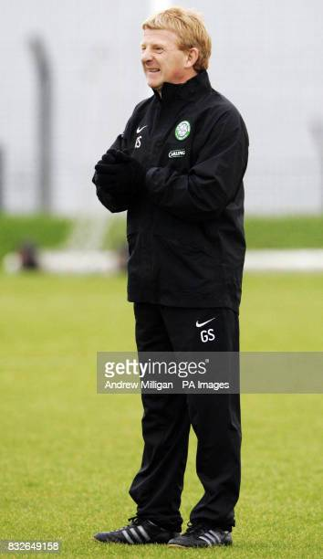 Celtic manager Gordon Strachan during a training session at Barrowfield Glasgow