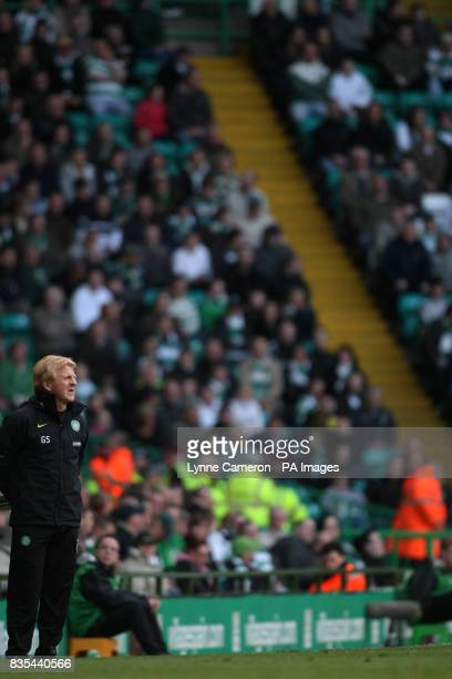 Celtic manager Gordon Strachan during the Clydesdale Bank Scottish Premier League match at Celtic Park Glasgow