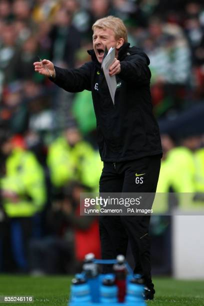Celtic manager Gordon Strachan gestures on the touchline