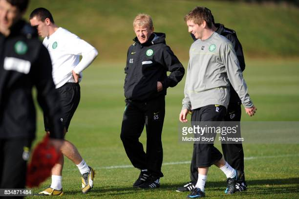 Celtic manager Gordon Strachan in conversation with Mark Wilson during the training session at Lennoxtown Training Complex Scotland