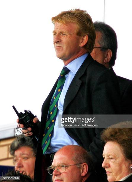 Celtic manager Gordon Strachan in the stands during the Bank of Scotland Premier League match at Caledonian Stadium Inverness