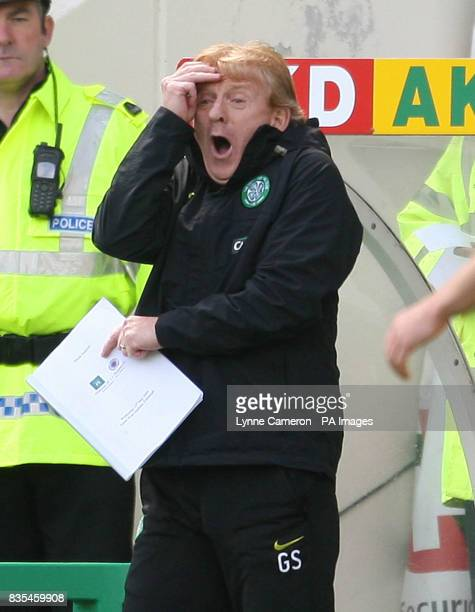 Celtic manager Gordon Strachan reacts on the touchline during the Clydesdale Bank Scottish Premier League match at Easter Road Edinburgh