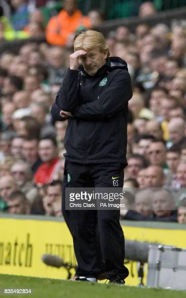 Celtic manager Gordon Strachan shows his frustration during the Clydesdale Bank Premier League match at Celtic Park Glasgow Scotland