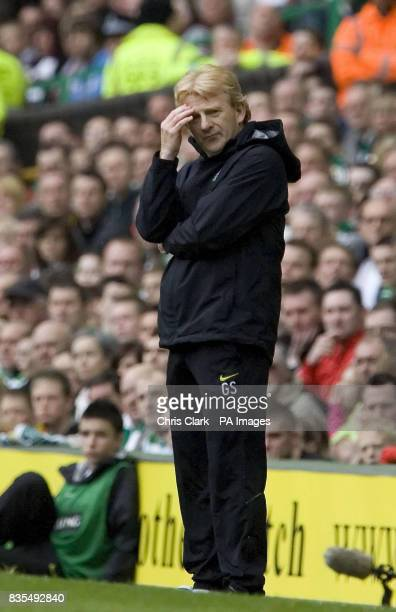 Celtic manager Gordon Strachan shows his frustration during the Clydesdale Bank Scottish Premier League match between Celtic and Heart of Midlothian...