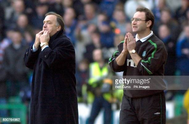 Celtic manager Martin O'Neill and Rangers manager Dick Advocaat show their emotion at today's Celtic v Rangers Old Firm match in the Scottish Premier...