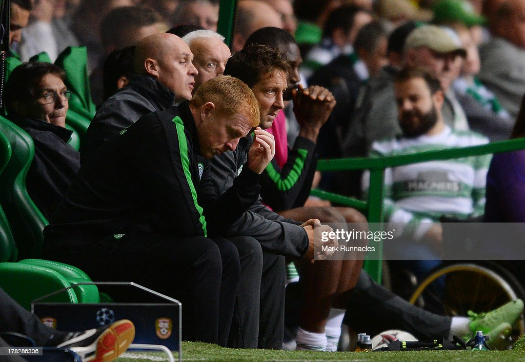 Celtic manager Neil Lennon going through the range of emotions in the dug out during the UEFA Champions League Play Off Round Second Leg match between Celtic and FC Shakhter Karagandy at Celtic Park Stadium on August 28, 2013 in Glasgow, Scotland.