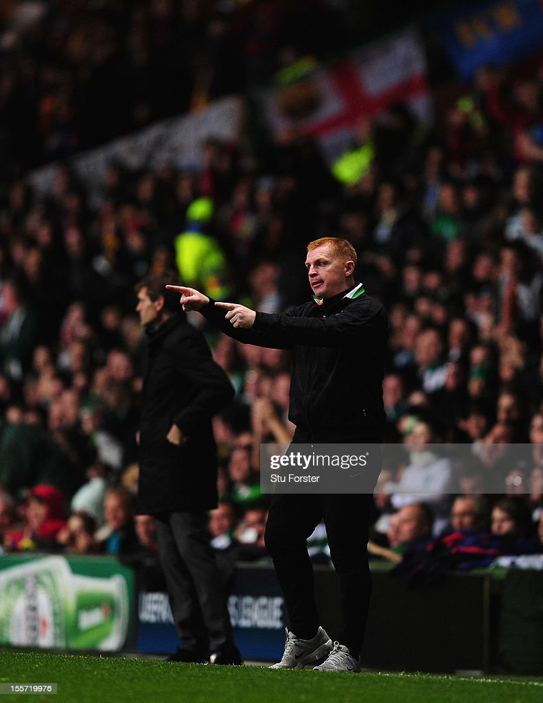 Celtic Manager <a gi-track='captionPersonalityLinkClicked' href=/galleries/search?phrase=Neil+Lennon&family=editorial&specificpeople=642944 ng-click='$event.stopPropagation()'>Neil Lennon</a> reacts during the UEFA Champions League Group G match between Celtic and Barcelona at Celtic Park on November 7, 2012 in Glasgow, Scotland.