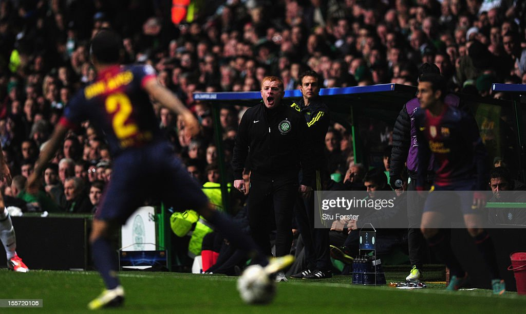 Celtic Manager Neil Lennon (c) reacts during the UEFA Champions League Group G match between Celtic and Barcelona at Celtic Park on November 7, 2012 in Glasgow, Scotland.