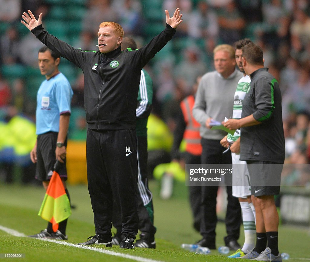 Celtic manager <a gi-track='captionPersonalityLinkClicked' href=/galleries/search?phrase=Neil+Lennon&family=editorial&specificpeople=642944 ng-click='$event.stopPropagation()'>Neil Lennon</a> reacts to a bad challenge during the UEFA Champions League Third Qualifying Round First Leg match between Celtic and Elfsborg at Celtic Park Stadium on July 31, 2013 in Glasgow, Scotland.