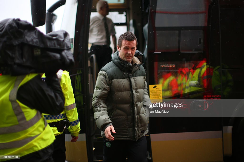 Celtic manager <a gi-track='captionPersonalityLinkClicked' href=/galleries/search?phrase=Ronny+Deila&family=editorial&specificpeople=8016162 ng-click='$event.stopPropagation()'>Ronny Deila</a> arrives at the stadium prior to the William Hill Scottish Cup Fifth Round match between East Kilbride and Celtic at Excelsior Stadium on February 7, 2016 in Airdrie, Scotland.