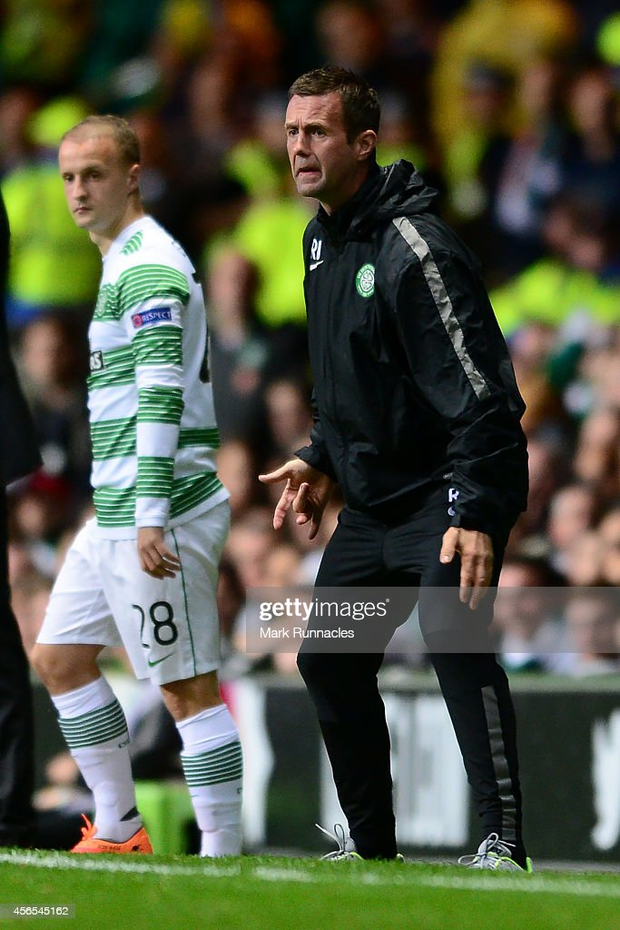 Celtic Manager Ronny Deila reacts during the UEFA Europa League group D match between Celtic and Dinamo Zagreb at Celtic Park on October 02, 2014 in Glasgow, Scotland.