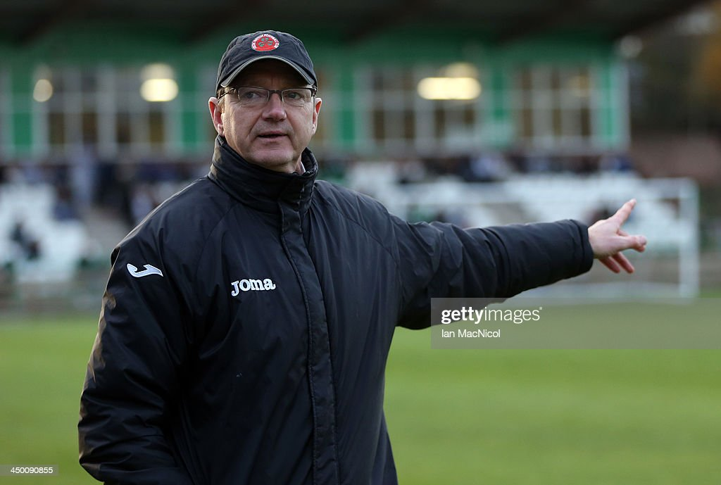 CARLISLE, ENGLAND - NOVEMBER 16 Celtic Nation manager Willie McStay looks on during the Ebac Division One football match between Celtic Nation and Hebburn Town on November 16, 2013 at Gillford Park in Carlisle, England.