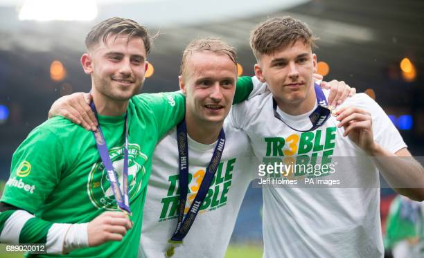Celtic Patrick Roberts Leigh Griffiths and Kieran Tierney celebrate after the William Hill Scottish Cup final at Hampden Park Glasgow