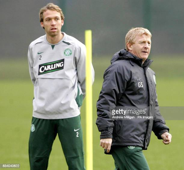 Celtic player Andreas Hinkel with manager Gordon Strachan during a training session at Celtic's training ground Lennoxtown