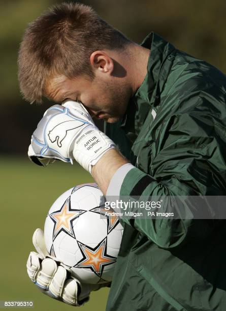 Celtic player Artur Boruc during a training session at Barrowfield Glasgow