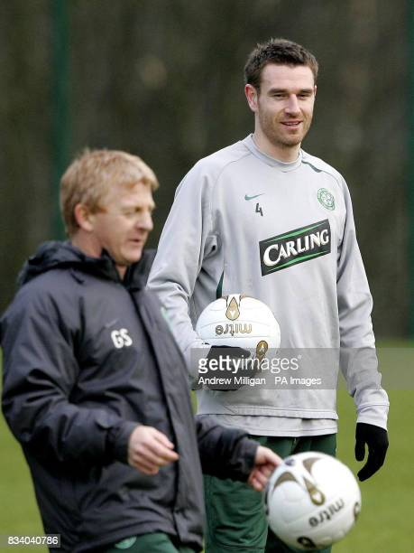 Celtic player Stephen McManus and manager Gordon Strachan during a training session at Celtic's training ground Lennoxtown