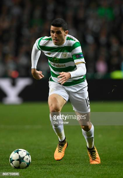 Celtic player Tom Rogic in action during the UEFA Champions League group B match between Celtic FC and Bayern Muenchen at Celtic Park on October 31...