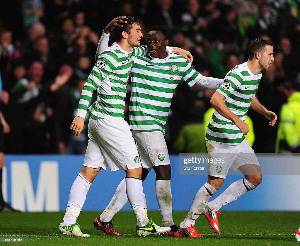 Celtic player Tony Watt (l) celebrates his goal with Victor Wanyama (c) and Adam Matthews during the UEFA Champions League Group G match between Celtic and Barcelona at Celtic Park on November 7, 2012 in Glasgow, Scotland.
